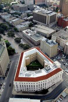 The Hipolito F. Garcia Federal Building and U.S. Courthouse in downtown San Antonio is seen in this Oct. 25, 2012 aerial photo. Photo: William Luther, San Antonio Express-News / © 2012 San Antonio Express-News