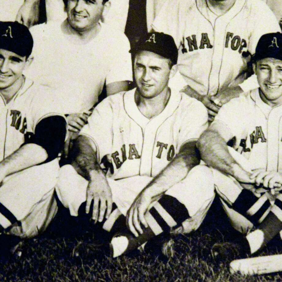 Photo courtesy of Frank Staucet:  Albany Senators shortstop Frank Staucet, center, from a 1952 team photo. Photo: JOHN CARL D'ANNIBALE / 00022994A