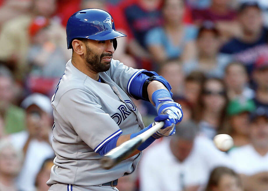 Toronto Blue Jays' Jose Bautista hits an RBI double in the ninth inning of a baseball game against the Boston Red Sox in Boston, Saturday, June 29, 2013. Bautista was out trying to advance to third. The Blue Jays won 6-2. (AP Photo/Michael Dwyer) ORG XMIT: MAMD118 Photo: Michael Dwyer / AP