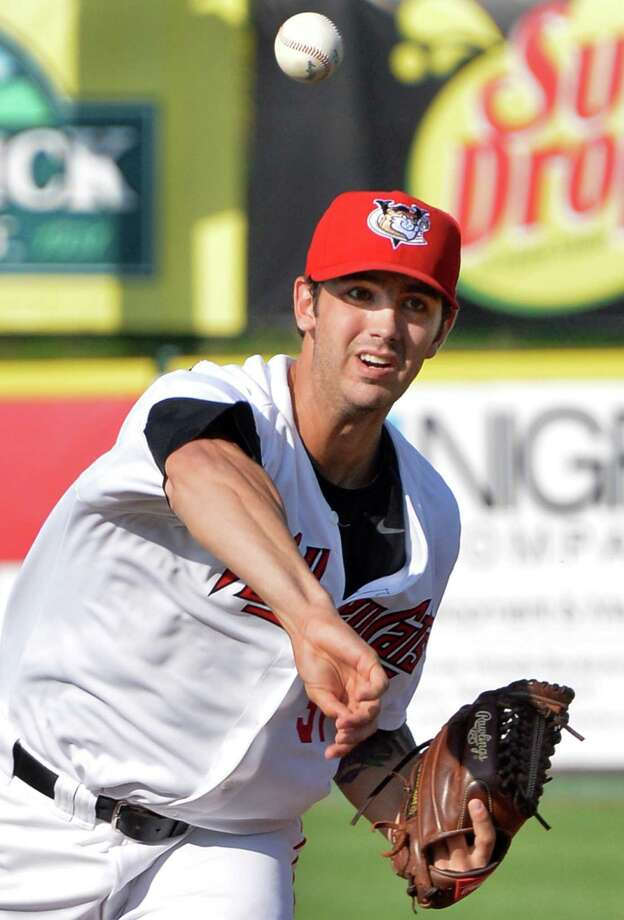 Tri-City ValleyCats pitcher Tanner Bushue starts the first game of a double header against the Connecticut Tigers at Joe Bruno Stadium in Troy, NY, Saturday June 29, 2013.  (John Carl D'Annibale / Times Union) Photo: John Carl D'Annibale / 00022938A