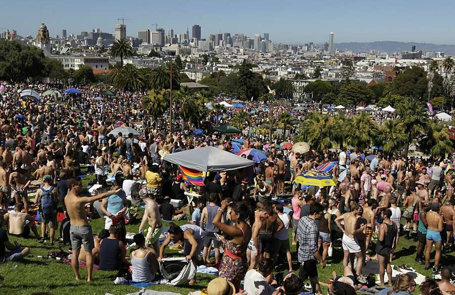 Dolores Park is covered with pride celebrants before the annual Dyke March in San Francisco, Calif. on Saturday, June 29, 2013. Photo: Paul Chinn, The Chronicle