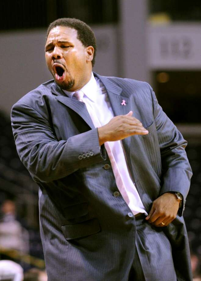 Fairfield head coach Ed Cooley reacts during Saturday's game against Siena at the Arena at Harbor Yard. Photo: Autumn Driscoll / Connecticut Post