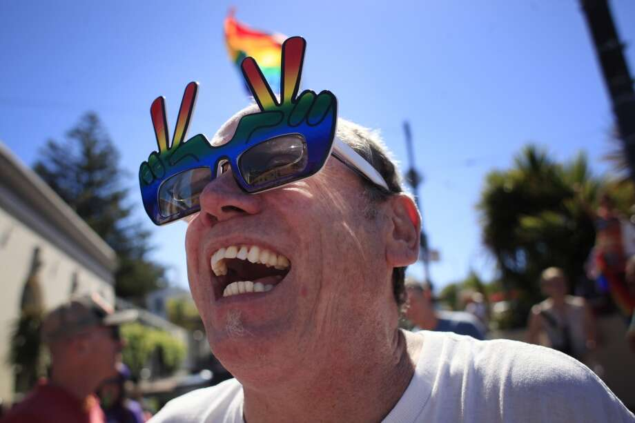 Joe Mac, Easter builder and one-liner extraordinair,  reacts in San Francisco's Castro district after the Supreme Court of the United States both dismissed Proposition 8  and ruled the Defense of Marriage Act unconstitutional on Wednesday June 26, 2013 in San Francisco, Calif.