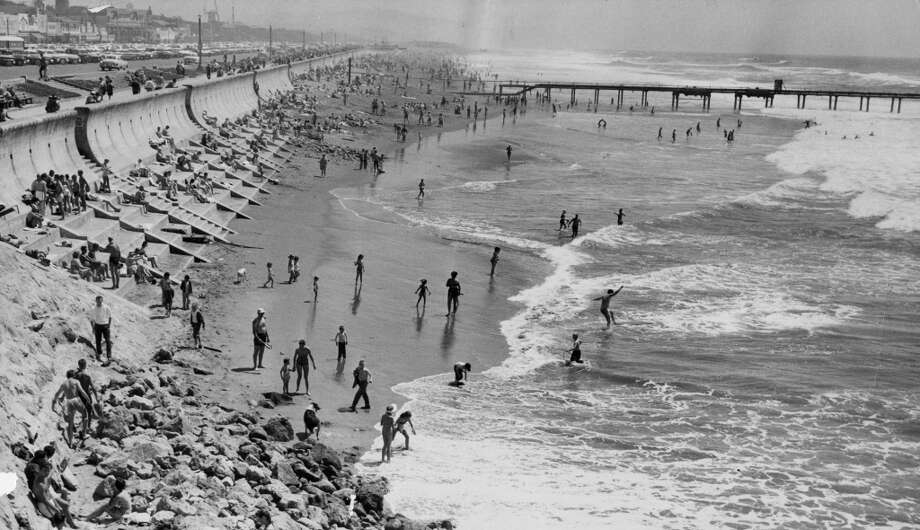 Ocean Beach on a warm day. May 4, 1957.