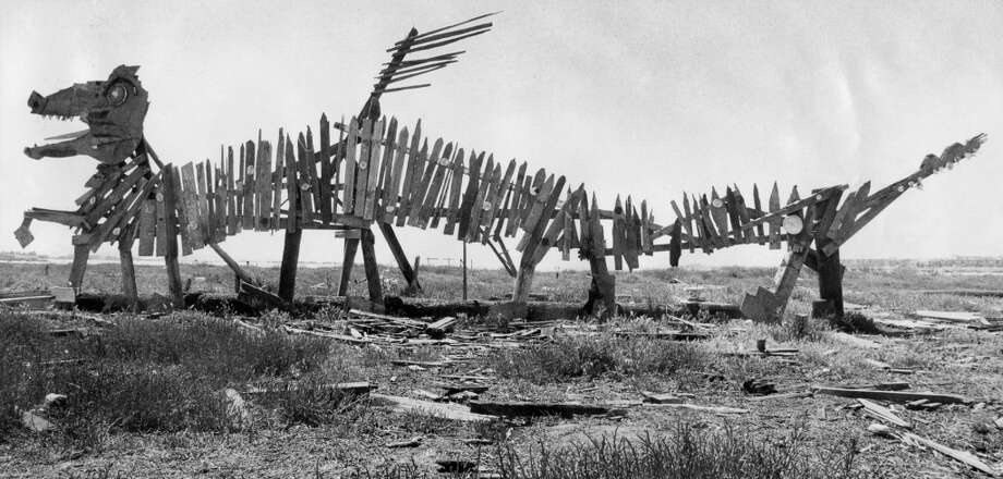 A sculpture at Emeryville mudflats. May 30, 1977.