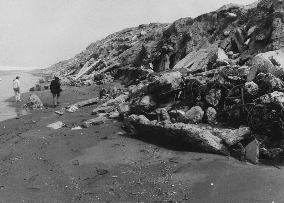 Debris clogs part of Ocean Beach. June 4, 1973.