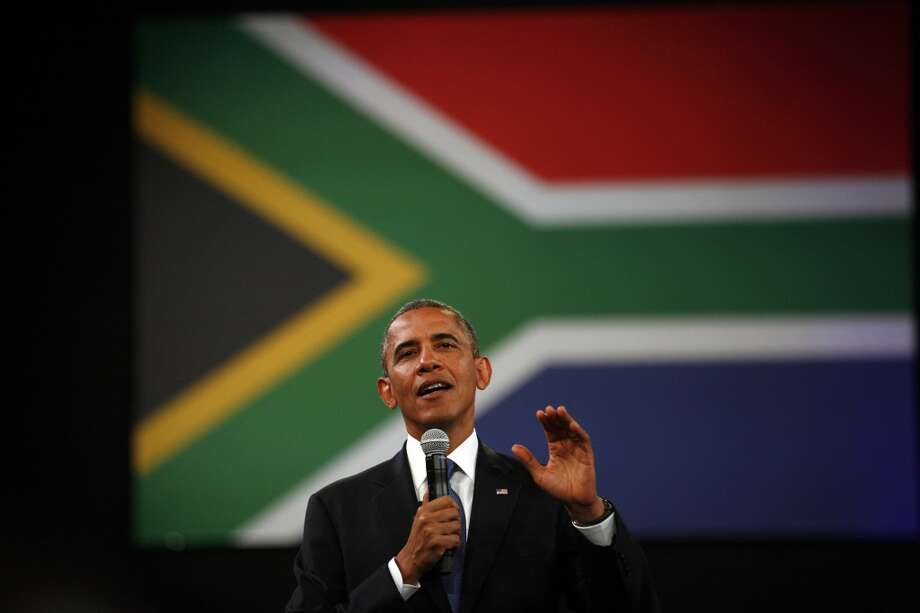 U.S. President Barack Obama  delivers remarks and takes questions at a town hall meeting with young African leaders at the University of Johannesburg Soweto campus in South Africa, Saturday June 29, 2013.