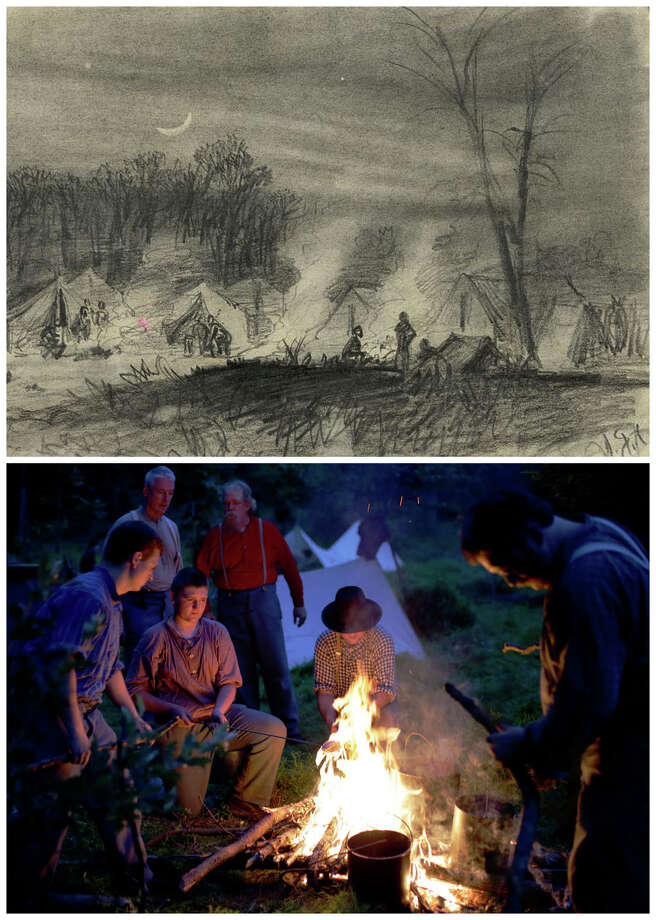 This combination image shows, top, a sketch made available by the Library of Congress of soldiers in camp at night between 1860 and 1865, and bottom, re-enactors portraying Union soldiers in the Murray's Brigade cooking their rations during ongoing activities commemorating the 150th anniversary of the Battle of Gettysburg, Thursday, June 27, 2013, at Bushey Farm in Gettysburg, Pa. The sketch is by combat artist Lt. Alfred R. Waud. Photo: AP