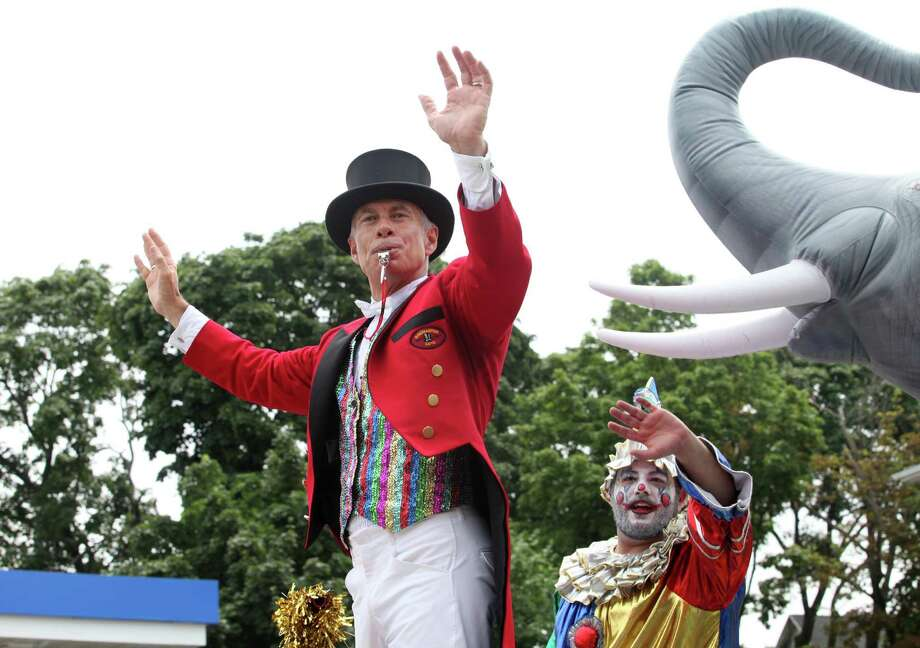 Ringmaster John F. Stafstrom, Jr waves in The Great Street Parade as part of the Barnum Festival on North Ave. in Bridgeport, Conn, on Sunday, June 30, 2013. Photo: BK Angeletti, B.K. Angeletti / Connecticut Post freelance B.K. Angeletti