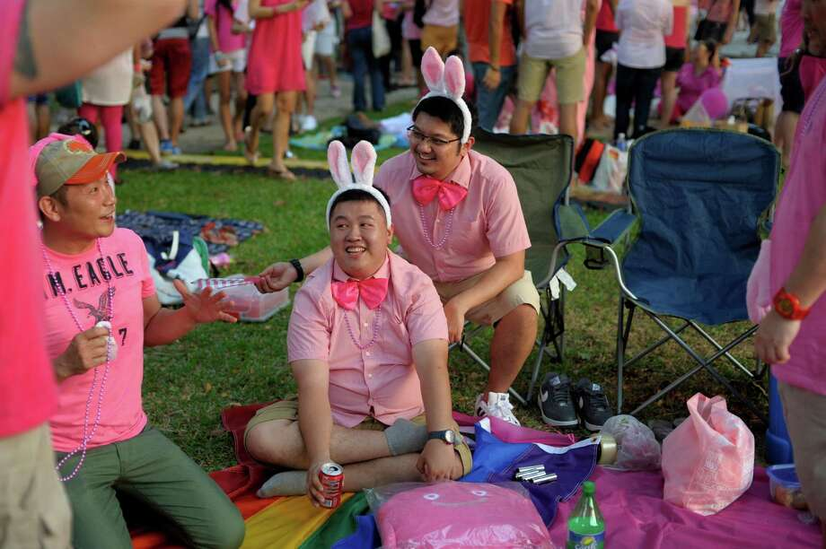 "Participants sit on a picnic mat at a rally called the ""Pink Dot"" in support of gay rights in Singapore, Saturday, June 29, 2013. The movement hopes to raise awareness of the impact of the anti-gay law and other gay rights issues like through its public show of support.  (AP Photo/Joseph Nair) Photo: Joseph Nair, Associated Press / AP"