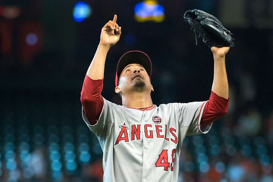 Angels relief pitcher Ernesto Frieri celebrates after the final out against the Astros.
