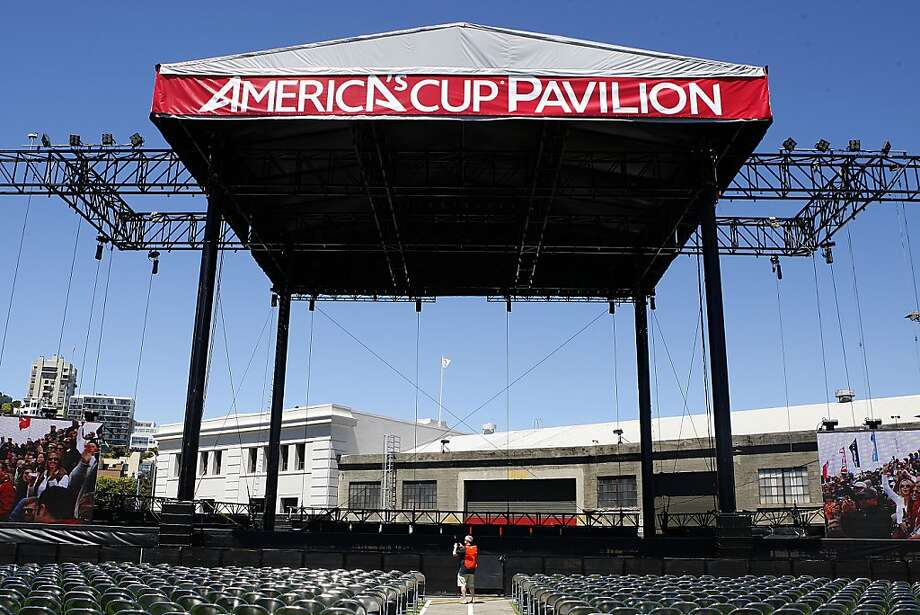 The America's Cup Park erected at Pier 27 includes a 9,000-seat amphitheater, which has been hosting concerts, as well as a new cruise ship terminal. City hosting costs, once projected at more than $50 million, are now estimated at less than $22 million, but the estimate of event-related tax revenue also has been cut nearly in half. Photo: Liz Hafalia, The Chronicle