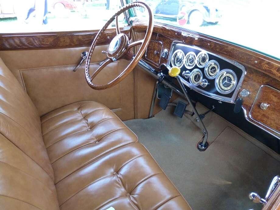 Inside the Weiss Packard convertible.