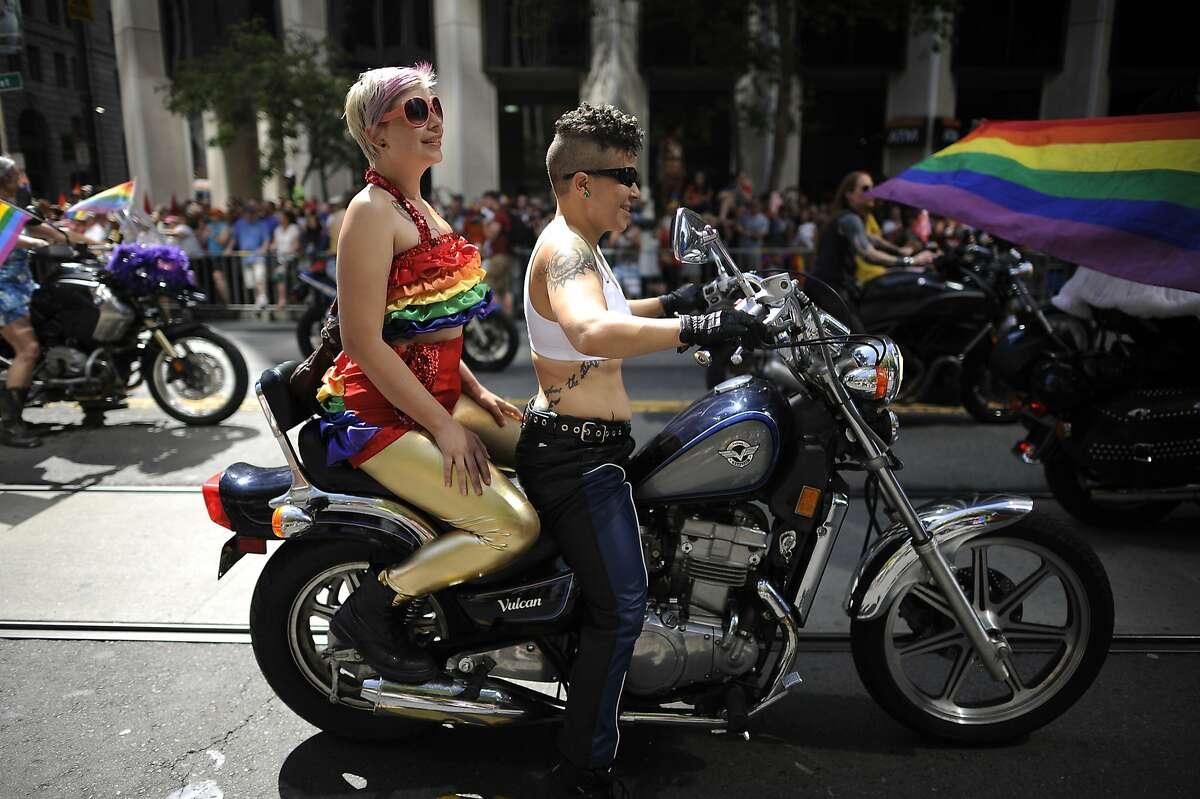 Members of Dykes on Bikes mark the start of last year's San Francisco Lesbian, Gay, Bisexual, Transgender Pride Parade.