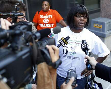 Antonette Bryant, President of the Amalgamated Transit Union Local 1555 talks with the media before a negotiations meeting with BART officials at the Caltrans building in Oakland, Calif. on June 30, 2013. Photo: Ian C. Bates, The Chronicle