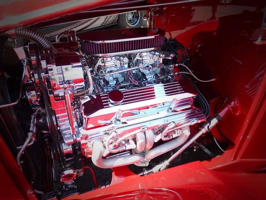 A hotted-up 350-CID Chevrolet motor in the engine bay of Darrell Benner's 1932 Ford three-window coupe.