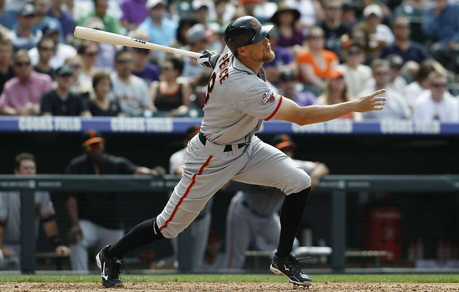 Hunter Pence hits a two-run homer in the fifth to help the Giants halt a six-game skid. Photo: David Zalubowski, Associated Press