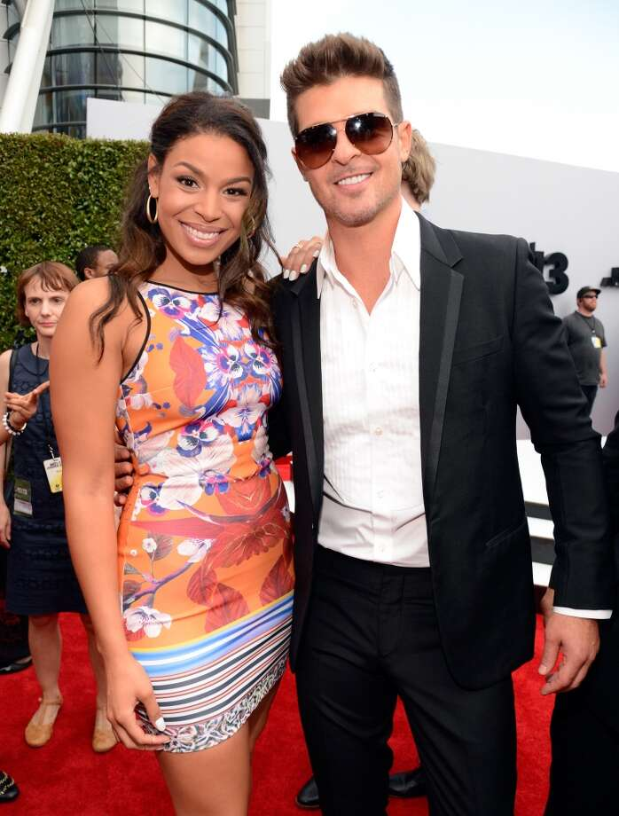 LOS ANGELES, CA - JUNE 30:  Singers Jordin Sparks (L) and Robin Thicke attend the Ford Red Carpet at the 2013 BET Awards at Nokia Theatre L.A. Live on June 30, 2013 in Los Angeles, California.  (Photo by Kevin Mazur/BET/Getty Images for BET)
