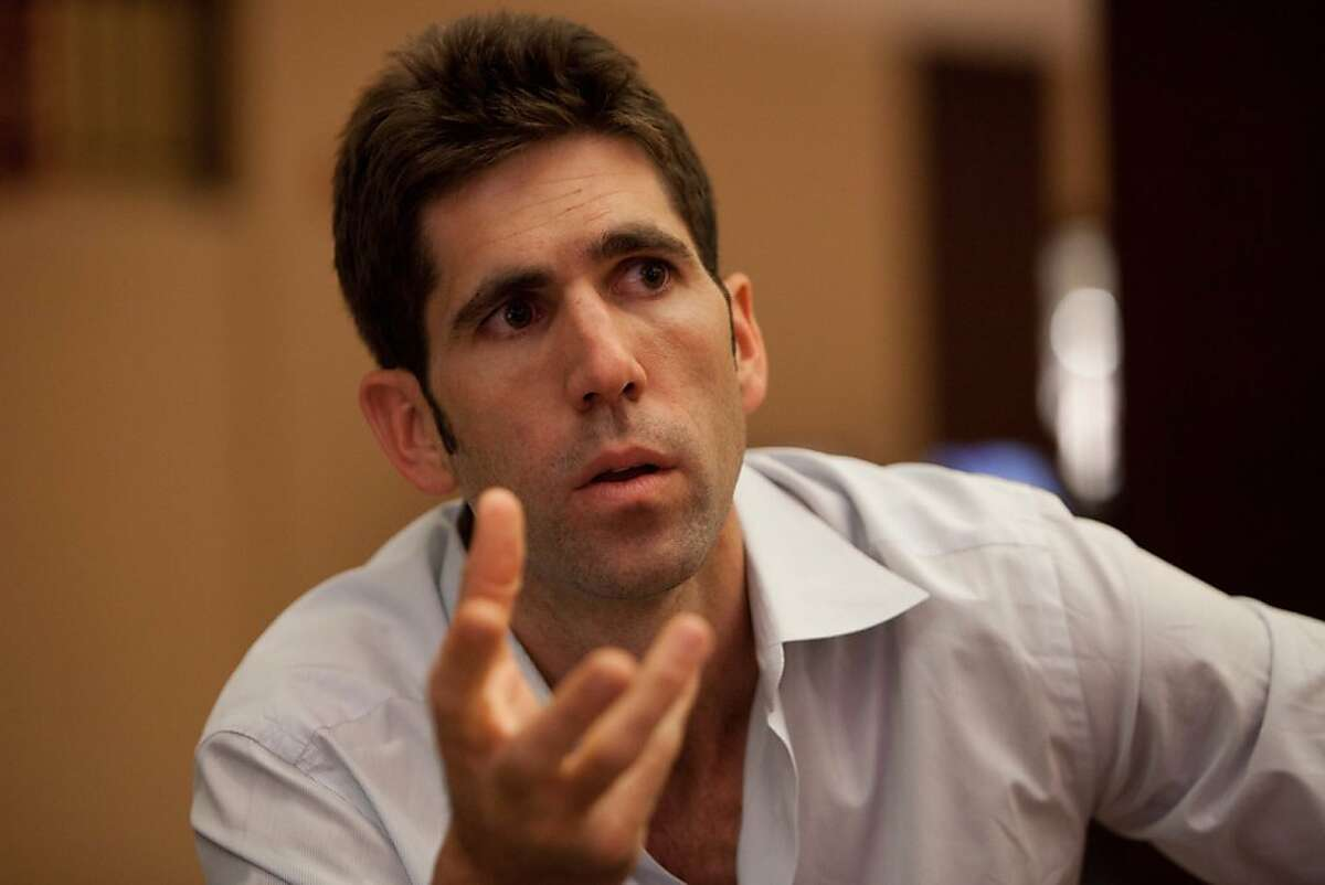Golden State Warriors General Manager Bob Myers speaks during an interview on Thursday, June 7, 2012, at the NBA draft combine in Chicago.