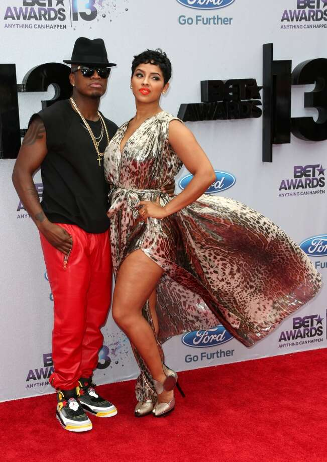 LOS ANGELES, CA - JUNE 30:  Singer Ne-Yo (L) and Monyetta Shaw attend the 2013 BET Awards at Nokia Theatre L.A. Live on June 30, 2013 in Los Angeles, California.  (Photo by Frederick M. Brown/Getty Images for BET)