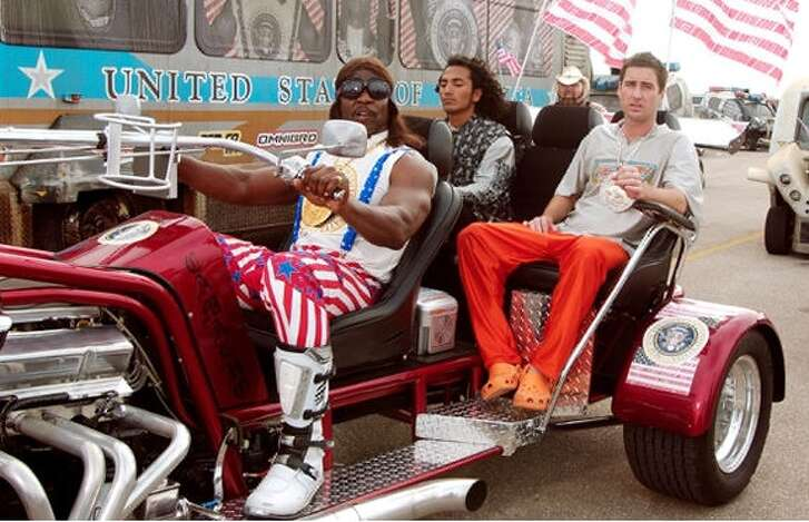 """President Dwayne Elizondo Mountain Dew Herbert Camacho (Terry Crews)  """"Idiocracy"""" (2006)  """"I know (expletive is) bad right now, with all that starving (expletive), and the dust storms, and we are running out of french fries and burrito coverings. But I got a solution."""""""