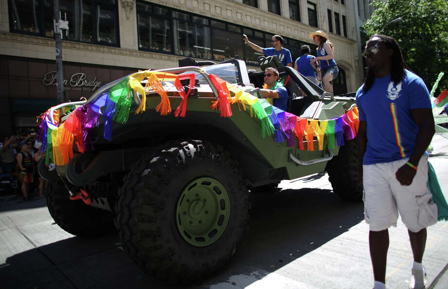 A vehicle from the video game Halo rolls down Fourth Avenue during the annual Pride Parade. Photo: JOSHUA TRUJILLO, SEATTLEPI.COM