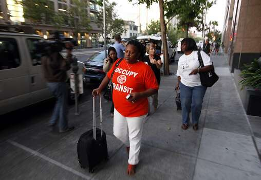BART unions members leave negotiations following a press conference Sunday. Negotiations between BART and its unions broke down late Sunday evening, June 30, 2013, in Oakland, Calif., almost assuring a strike by Monday morning. Photo: Carlos Avila Gonzalez, The Chronicle