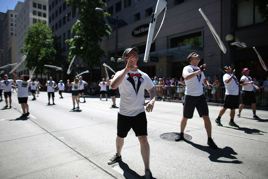 A drill team performs during the annual Pride Parade. Photo: JOSHUA TRUJILLO, SEATTLEPI.COM