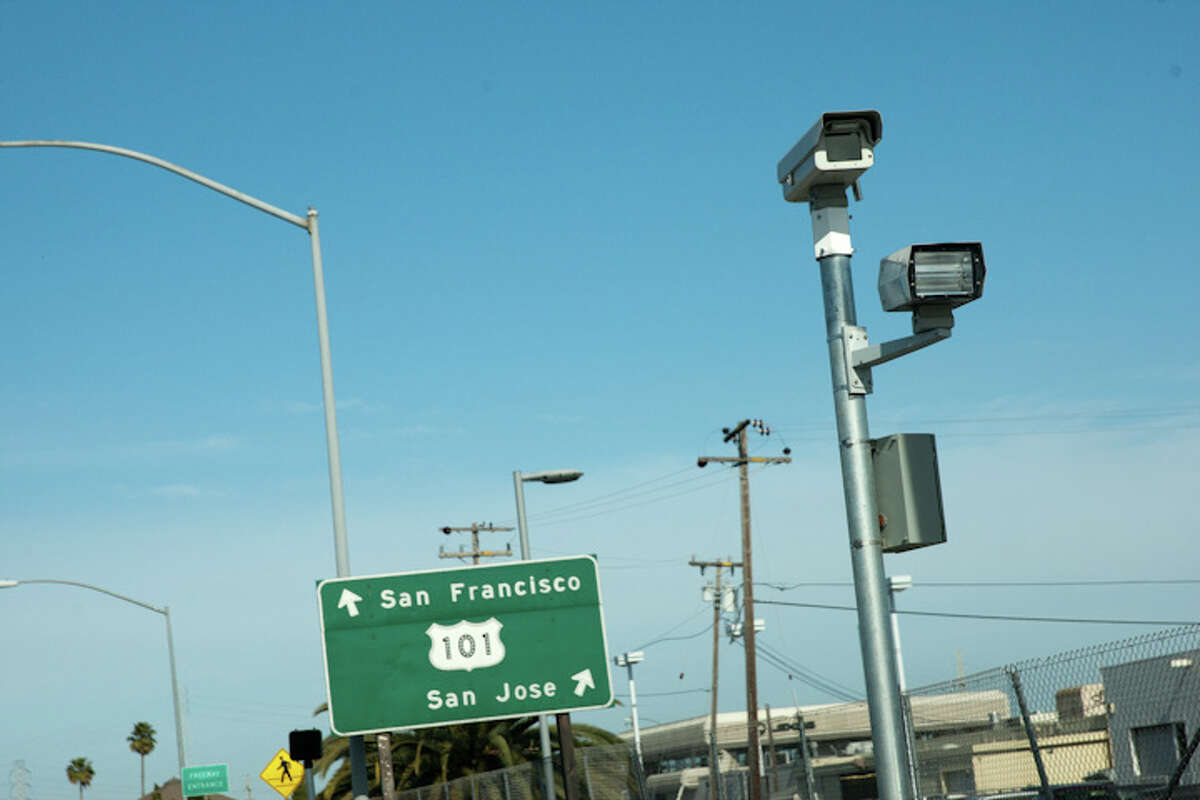 A red light camera on the Peninsula in San Mateo county.