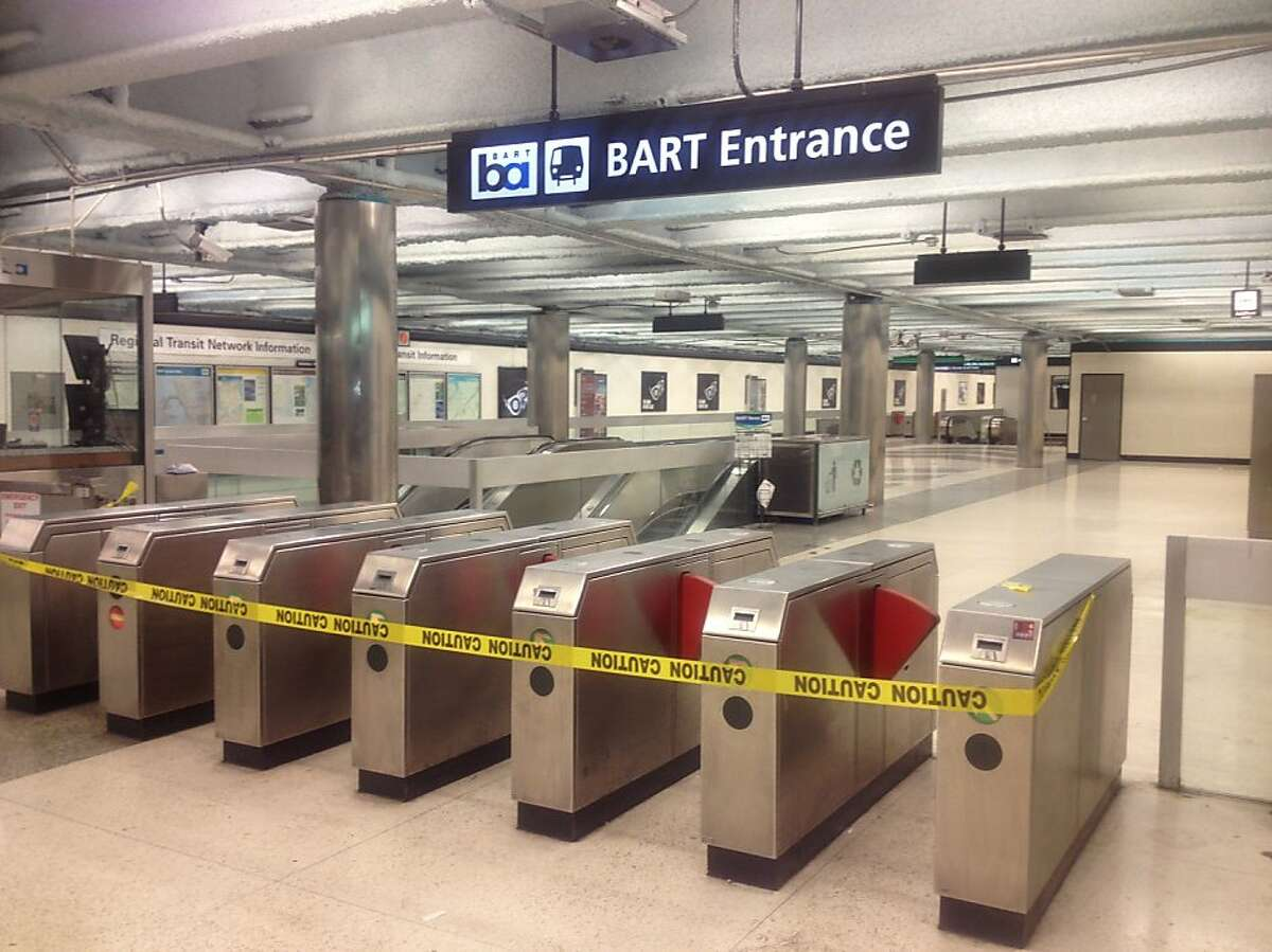 Closed turnstiles at the Powell BART Station in downtown San Francisco early on Monday, July 1, 2013, the first day of the first BART strike since 1997. Roughly 400,000 thousand riders were stranded by the strike.