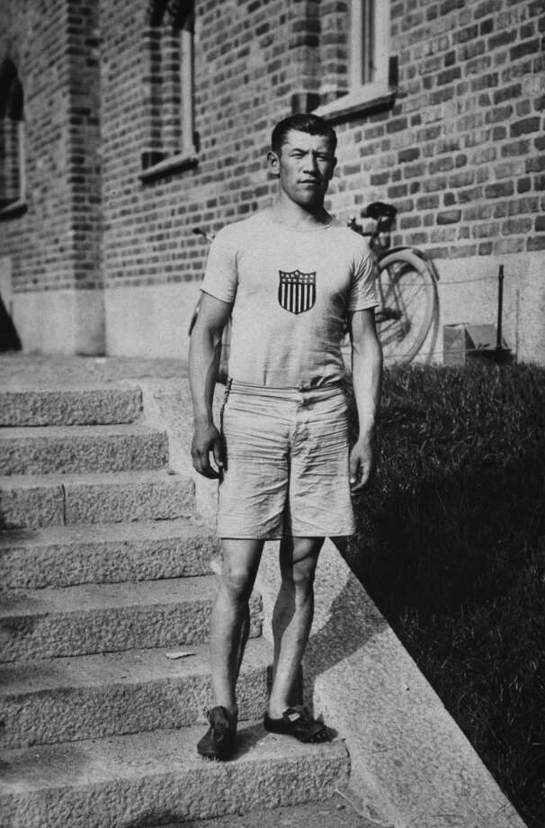 American athlete Jim Thorpe (1888 - 1953), gold medallist in the decathlon and pentathlon at the Stockholm Summer Olympics, 1912. (Photo by Popperfoto/Getty Images)