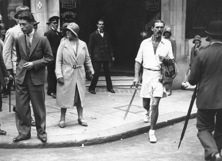 July 3rd, 1930:  A man in shorts in the Strand, London.  (Photo by Topical Press Agency/Getty Images)