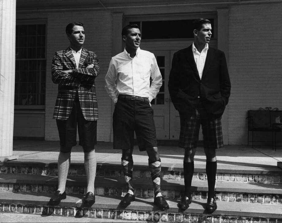Three men pose in outdoors in Bermuda shorts, New York, New York, 1953. (Photo by Alfred Eisenstaedt/Time & Life Pictures/Getty Images)