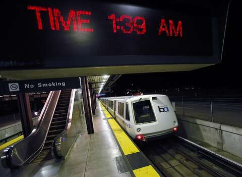 The final BART train leaves the Bay Point station after dropping off the last passengers on Monday morning, July 1, 2013. The train left for a holding yard until service resumes. Negotiations between BART and its unions broke down late Sunday evening, June 30, 2013, in Oakland, Calif., almost assuring a strike by Monday morning. Photo: Carlos Avila Gonzalez, The Chronicle