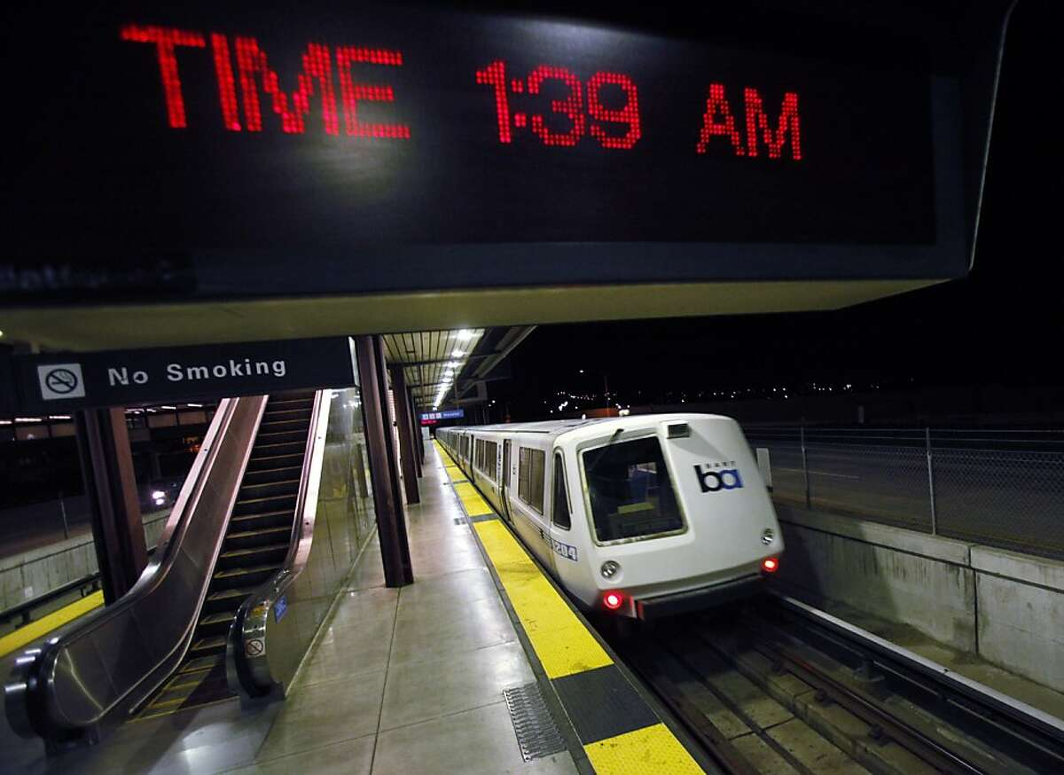 The final BART train leaves the Bay Point station after dropping off the last passengers on Monday morning, July 1, 2013. The train left for a holding yard until service resumes. Negotiations between BART and its unions broke down late Sunday evening, June 30, 2013, in Oakland, Calif., almost assuring a strike by Monday morning.