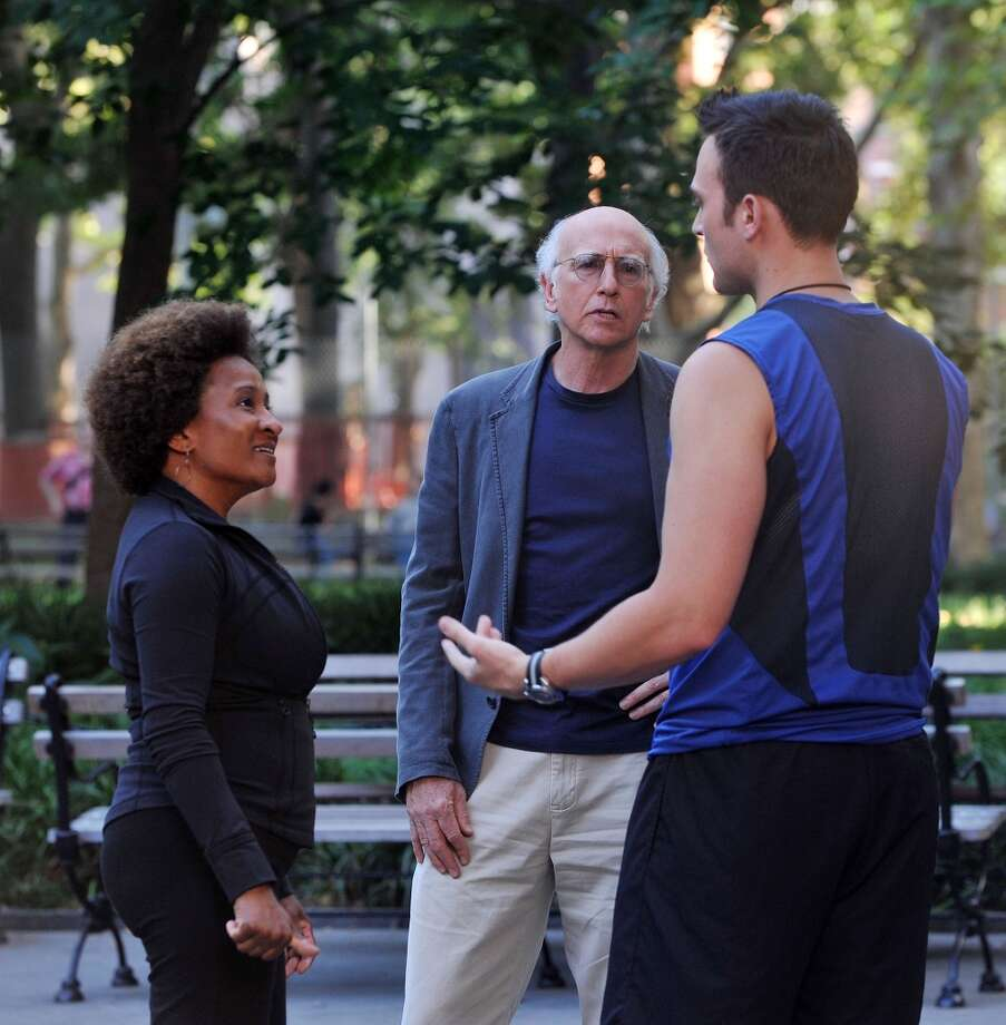 "Wanda Sykes, Larry David and Cheyenne Jackson on location for ""Curb Your Enthusiasm"" on the streets of New York City, July 2, 2010. Sykes is set to perform at the Palace Theatre in Stamford, Conn., on Sept. 20, 2013. (Photo/ Bobby Bank/WireImage)"