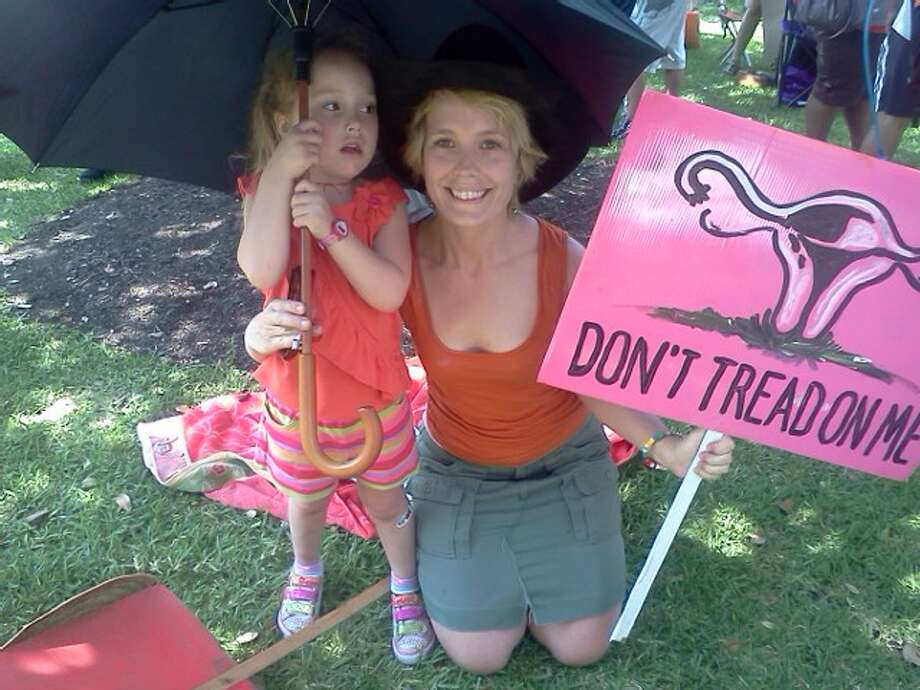 A pro-choice demonstrator. Photo: Express-News