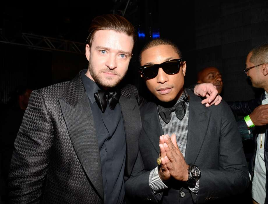 LOS ANGELES, CA - JUNE 30:  Singer Justin Timberlake (L) and Pharrell Williams pose backstage during the 2013 BET Awards at Nokia Theatre L.A. Live on June 30, 2013 in Los Angeles, California.  (Photo by Kevin Mazur/BET/Getty Images for BET)