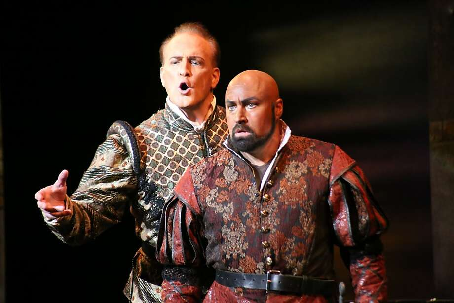 "Philip Skinner (left) is a robust and insinuating Iago and David Gustafson owns the title role in Verdi's ""Otello"" at Festival Opera, in partnership with West Bay Opera, at the Lesher Center for the Arts in Walnut Creek. Photo: Art Garcia"