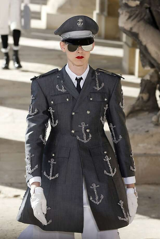 In the Navy:While many around the globe were marking Gay Pride on Sunday, the Thom Browne men's spring/summer 2014 show celebrated men in uniform at the Ecole Militaire in Paris. Photo: Francois Guillot, AFP/Getty Images