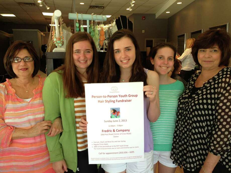 Person-to-Personís Youth Group organized ìHair Affair,î a fundraising event at Fredric & Company Hair Salon, to support new mothers. From left Connie Hatterman, co-owner of Fredric & Company; Katie Graves, Elizabeth Renihan and Emily Scerbo of the youth group; and Janet Montanaro, co-owner. Photo: Contributed Photo