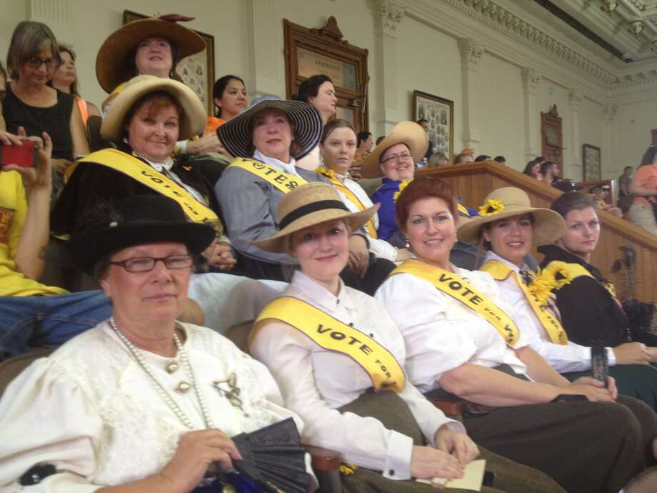 Women dressed as suffragettes wait for the special session in the senate gallery July 1, 2013. Photo: Elise Brunsvold/Express-News