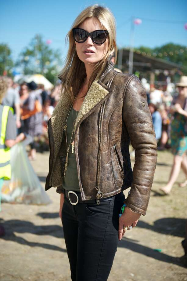 GLASTONBURY, ENGLAND - JUNE 29: Model Kate Moss during day 3 of the 2013 Glastonbury Festival at Worthy Farm on June 29, 2013 in Glastonbury, England. (Photo by Mark Boland/FilmMagic)