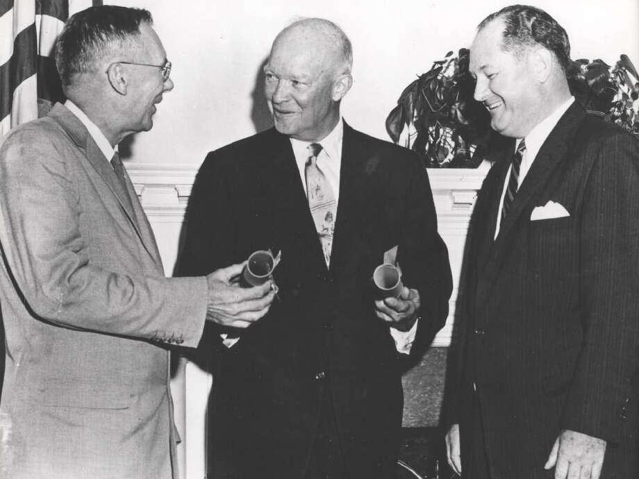 President Dwight Eisenhower (center) was one of few American presidents prepared for the role of commander in chief, overseeing the military and intelligence agencies according to Gary Hart, retired Colorado senator. Photo: Associated Press