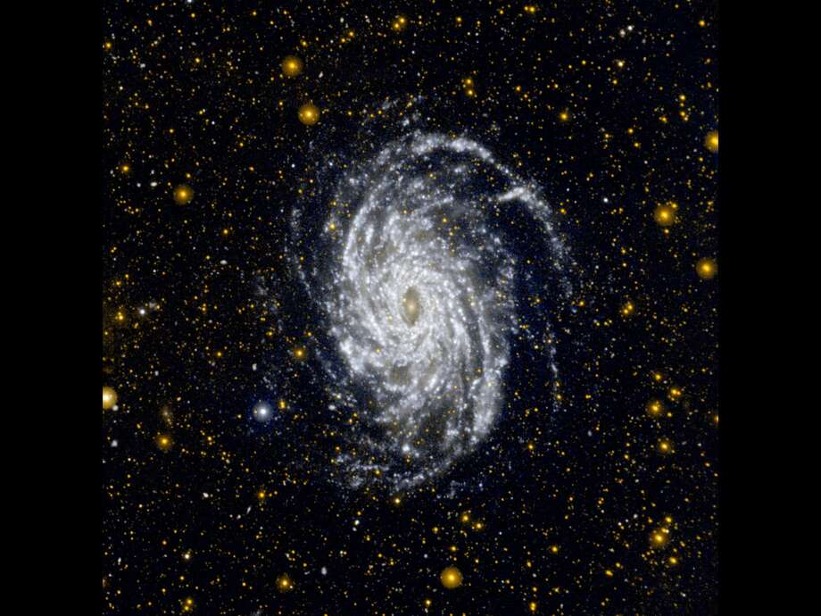 This image from NASA's Galaxy Evolution Explorer shows NGC 6744, one of the galaxies most similar to our Milky Way in the local universe.NGC 6744 is in the constellation of Pavo, about 30 million light-years away. It is bigger than the Milky Way, with a disk stretching 175,000 light-years across.Nearby is a small, distorted companion galaxy, NGC 6744A, similar to our galaxy's Large Magellanic Cloud. It can be seen as a blob in the main galaxy's outer arm, at upper right.This ultraviolet view highlights the vast extent of the fluffy spiral 