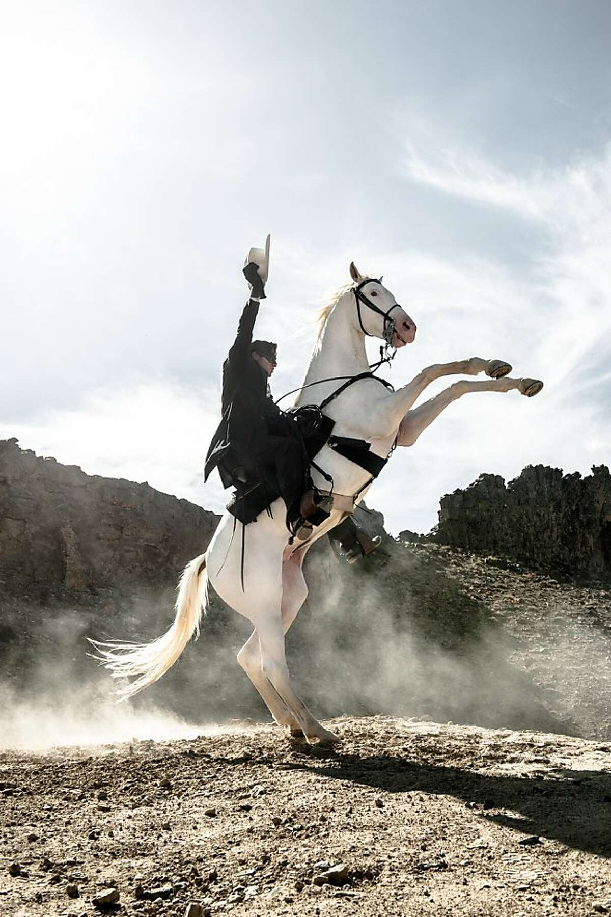"""""""THE LONE RANGER"""" Armie Hammer as The Lone Ranger and Silver"""
