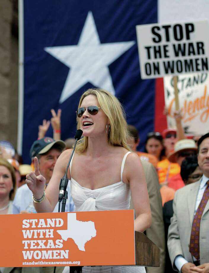 Actress Alexandra Cabot speaks during a rally supporting abortion rights outside the Texas Capitol, Monday, July 1, 2013, in Austin, Texas. The Texas Senate has convened for a new 30-day special session to take up contentious abortion restrictions bill and other issues. Photo: Eric Gay, Associated Press / AP