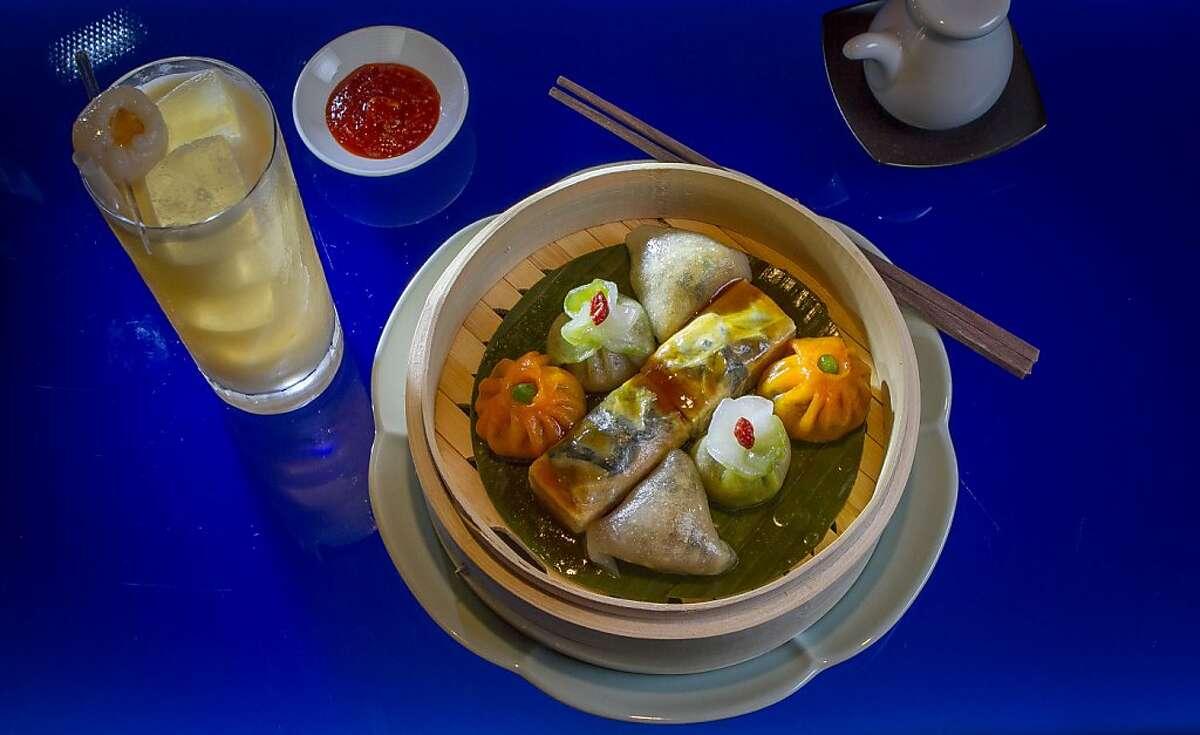 "The ""Hakka"" cocktail with the vegetarian Dim Sum platter at Hakkasan in San Francisco, Calif., on Thursday, June 27th, 2013."