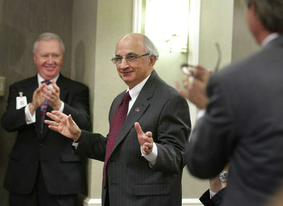 Harvey Najim (center) and his Najim Family Foundation donated $3 million to Children's Hospital of San Antonio. At left, is John Bel, the hospital foundation's vice president and chief development officer. Photo: Bob Owen / San Antonio Express-News