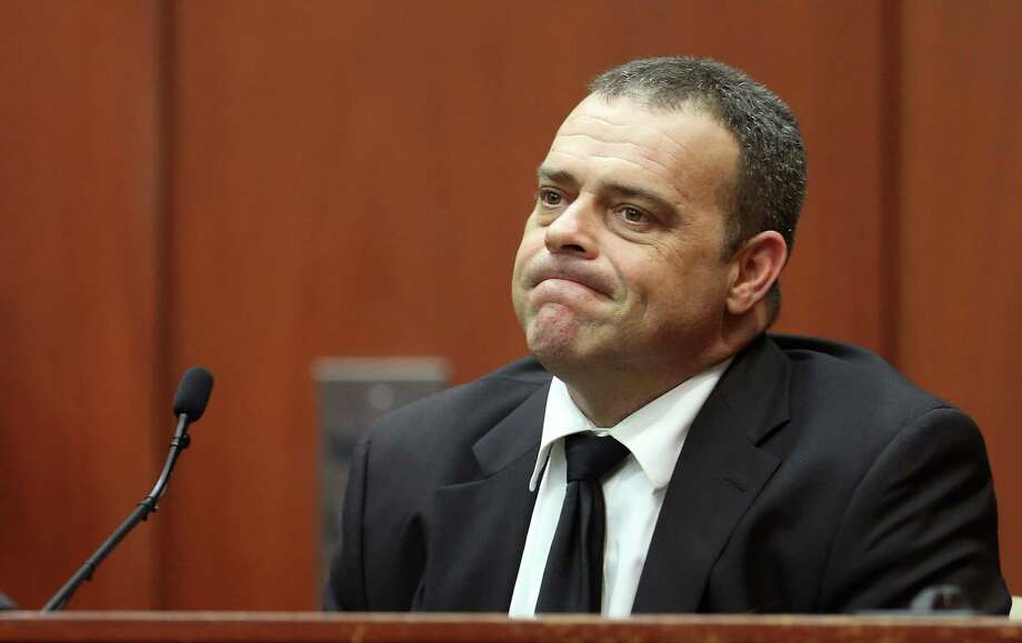 "July 2, 2013 – In a seemingly positive turn for the defense, prosecution witness Detective Chris Serino testifies that George Zimmerman's account of the shooting has remained  consistent and he did not perceive ""active deception"" from Zimmerman. The prosecution may have scored points, however, when he testified that he believed Zimmerman was following Martin the night of the shooting. Photo: Joe Burbank, Pool / Pool Orlando Sentinel"